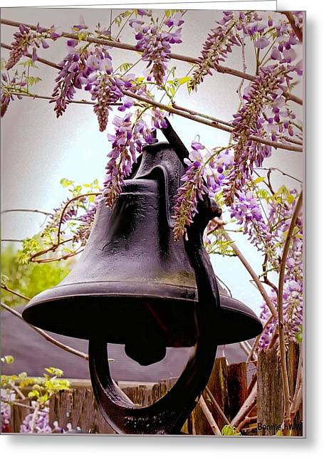 Ding Dong Bell Greeting Cards - Bell and Wisteria Greeting Card by Bonnie Willis
