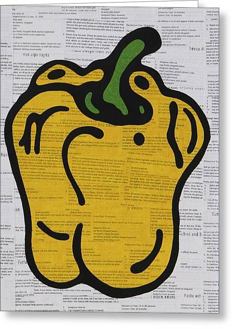 Pop Mixed Media Greeting Cards - Bell Pepper Greeting Card by Jen Gabriele