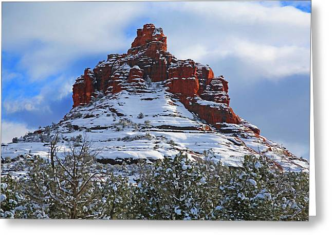 Bell Rock Greeting Cards - Bell Rock With Snow 2 Greeting Card by Donna Kennedy