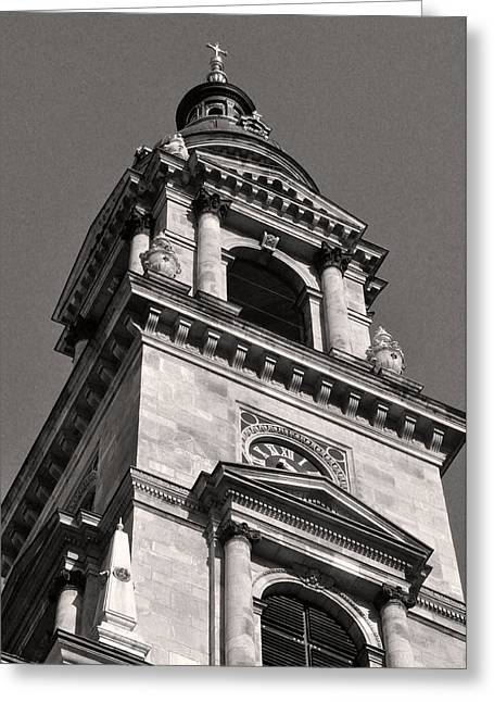 Belle Epoque Reliefs Greeting Cards - Bell Tower of Saint Stephens Basilica Budapest Greeting Card by James Dougherty