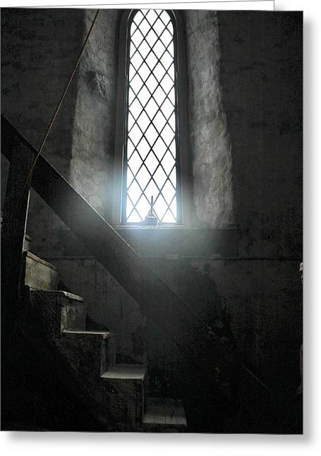 Wooden Stairs Greeting Cards - Bell Tower Stairs Greeting Card by CJ Rhilinger