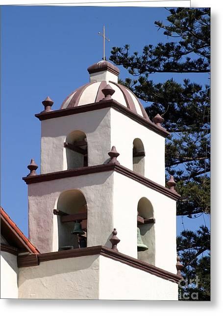 Ventura California Greeting Cards - Bell Tower Ventura Mission Greeting Card by Henrik Lehnerer