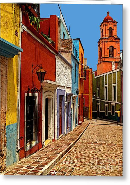 Old Tower Greeting Cards - Bell Tower View Greeting Card by Olden Mexico