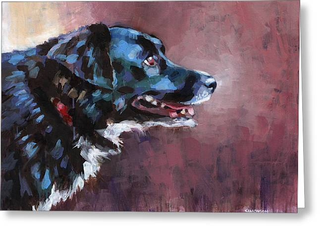 Cattle Dog Paintings Greeting Cards - Bella Greeting Card by Douglas Simonson