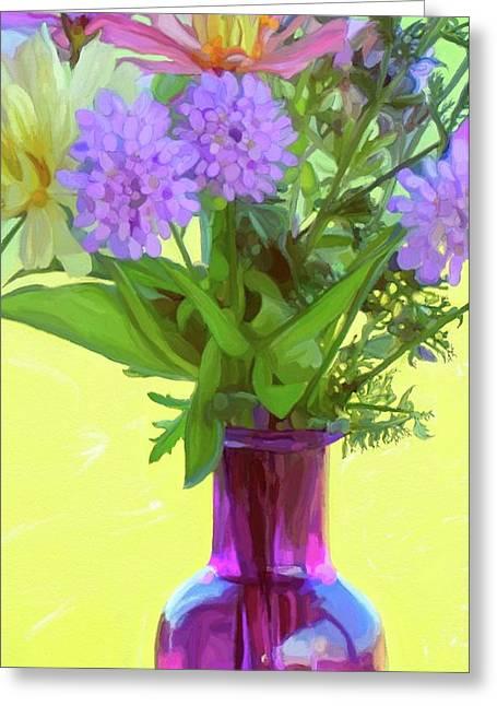 Vase Of Flowers Greeting Cards - Bella Flowers Greeting Card by Patti Siehien