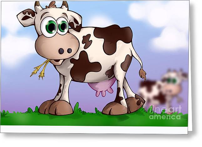 Bella The Cow Greeting Card by Hanan Evyasaf