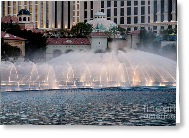 Lighting Greeting Cards - BELLAGIO FOUNTAIN PATTERNS 2 hotel casino fountains las vegas nevada Greeting Card by Andy Smy