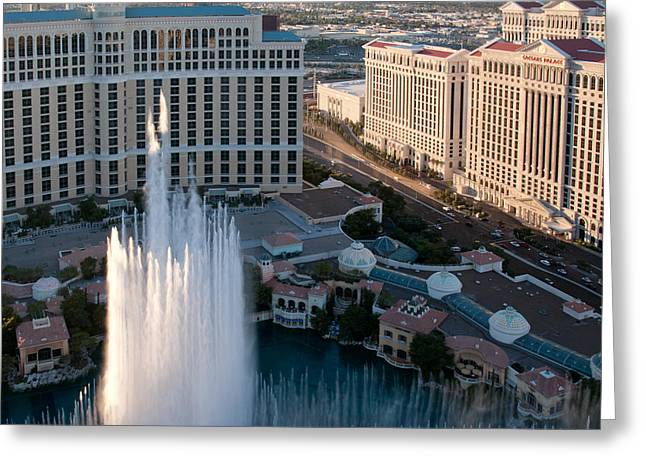 Fountain Greeting Cards - Bellagio Fountains at Dusk Greeting Card by Andy Smy