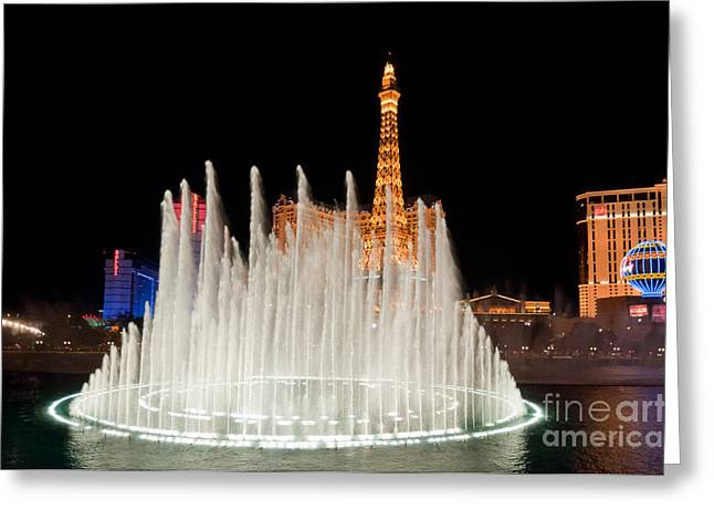 Lit Up Greeting Cards - Bellagio Fountains Night 2 Greeting Card by Andy Smy