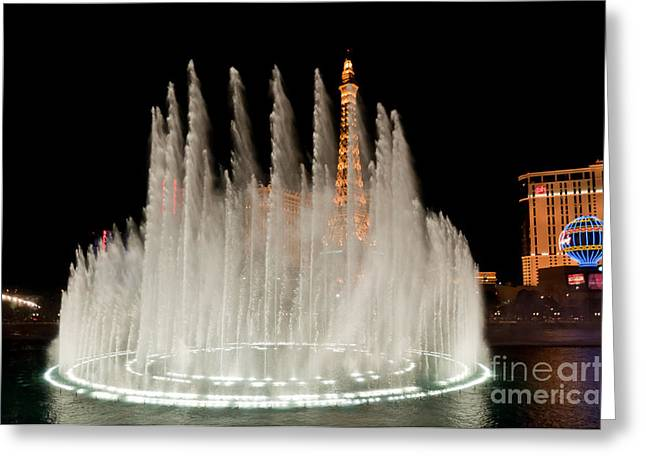 Lit Up Greeting Cards - Bellagio Fountains Night 3 Greeting Card by Andy Smy