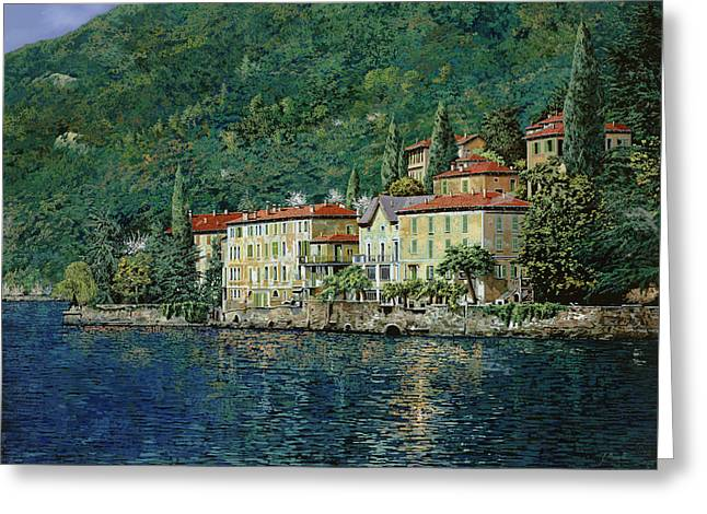 Oils Greeting Cards - Bellano on Lake Como Greeting Card by Guido Borelli