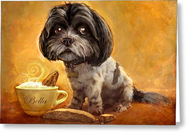 Animal Portraits Greeting Cards - Bellas Biscotti Greeting Card by Sean ODaniels