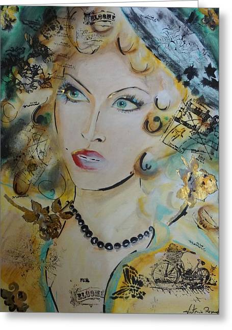 Escort Girl Greeting Cards - Belle de nuit Greeting Card by Victoria Rosenfield