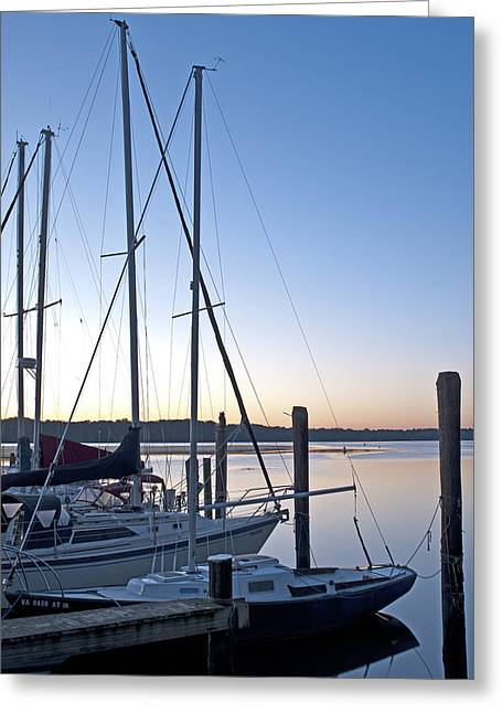 Sailboats Docked Greeting Cards - Belle Haven Marina in Alexandria Virginia at sunrise Greeting Card by Brendan Reals