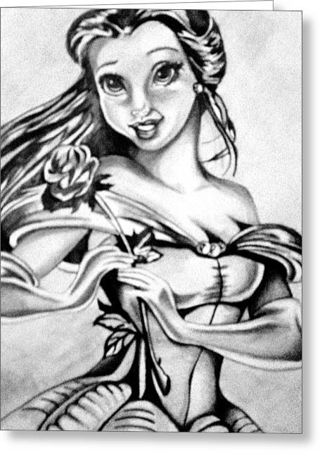 Belles Drawings Greeting Cards - Belle  Greeting Card by Pauline Murphy