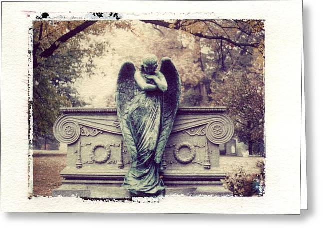 Transfer Greeting Cards - Bellefontaine Angel Polaroid transfer Greeting Card by Jane Linders