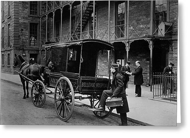 Psychiatric Greeting Cards - Bellevue Hospital Ambulance 1895 Greeting Card by New York Times