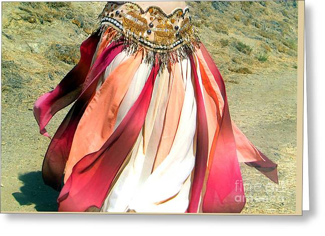 Belly Dance Fashion - Ameynra Skirt - Desert Rose Greeting Card by Sofia Goldberg