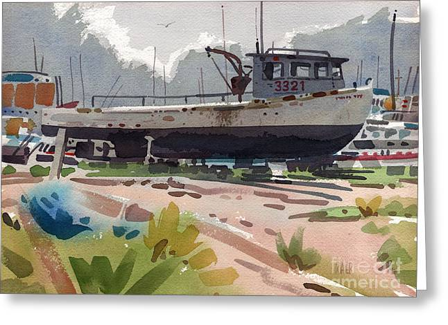 Lobster Boat Greeting Cards - Belmar Boatyard Greeting Card by Donald Maier