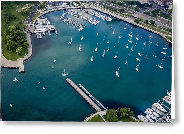 Sailboat Photos Greeting Cards - Belmont Harbor Greeting Card by Adam Romanowicz