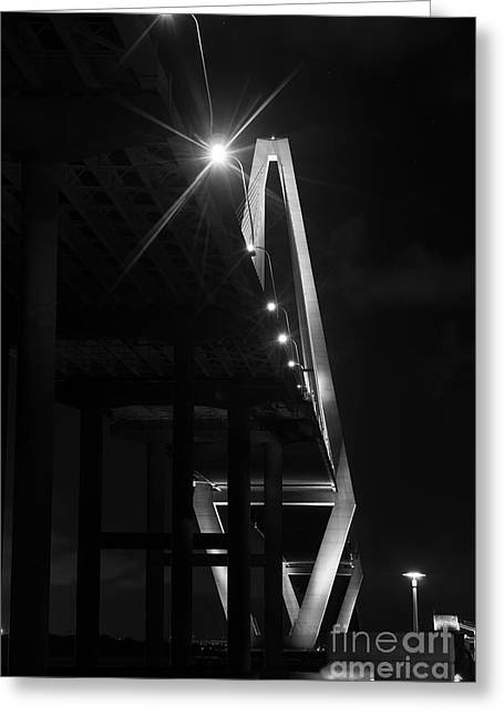 Patriots Framed Prints Greeting Cards - Below Arthur Ravenel Grayscale Greeting Card by Jennifer White