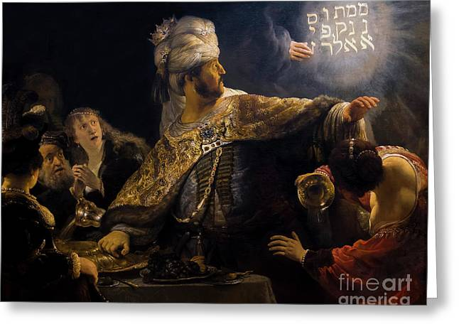 Belshazzar's Feast, By Rembrandt, Circa 1636-8,  National Galler Greeting Card by Peter Barritt