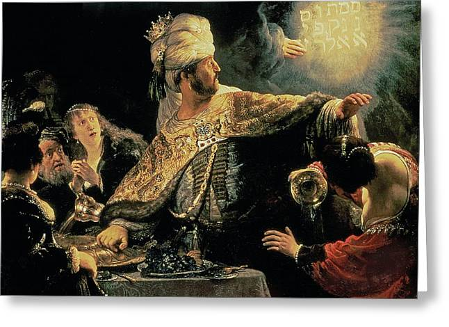 Daniel Paintings Greeting Cards - Belshazzars Feast Greeting Card by Rembrandt