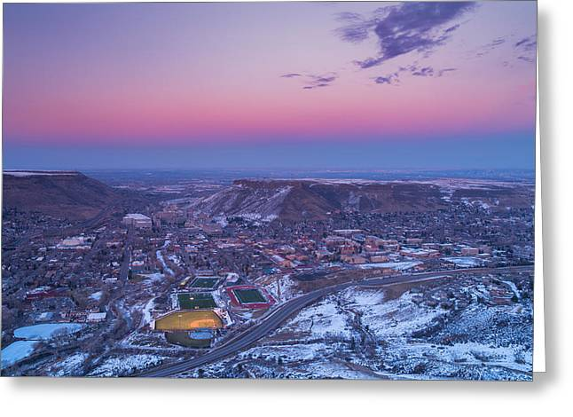 Baseball Fine Art Greeting Cards - Belt of Venus over Golden Colorado Greeting Card by Darren  White
