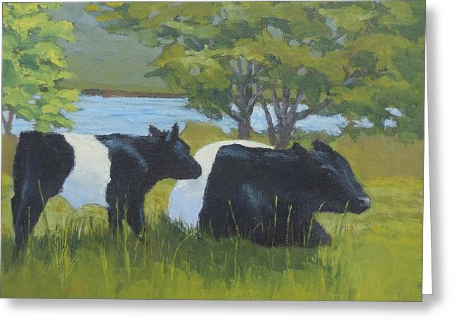 Maine Farms Paintings Greeting Cards - Belted Galloway and Calf Greeting Card by Bill Tomsa