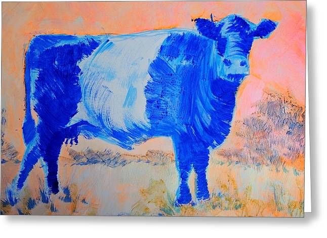 Impressionist Greeting Cards - Belted Galloway Cow Against A Fiery Sky Greeting Card by Mike Jory