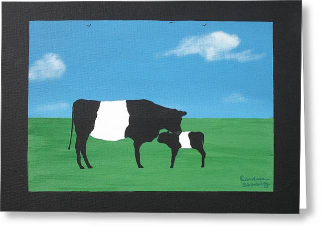 Belted Galloway Greeting Cards - Belted Galloway Cow and Calf Greeting Card by Candace Shockley