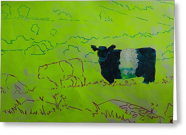 Belted Galloway Cow On Dartmoor Illustration Greeting Card by Mike Jory