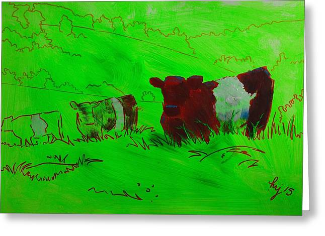 Tor Drawings Greeting Cards - Belted Galloway Cows On Dartmoor Greeting Card by Mike Jory