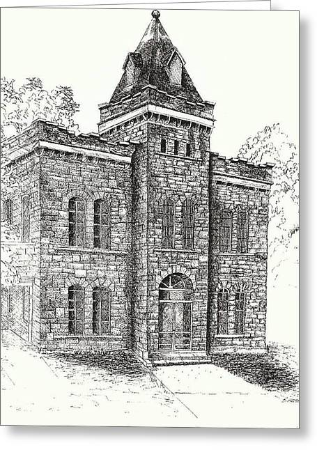 Caboose Drawings Greeting Cards - Belton Jail Greeting Card by Barney Hedrick
