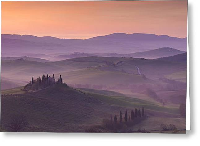 Tuscan Hills Greeting Cards - Belvedere and Tuscan Countryside Greeting Card by Brian Jannsen