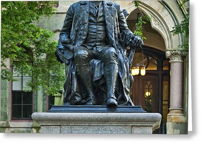 Ben Franklin at the University of Pennsylvania Greeting Card by John Greim