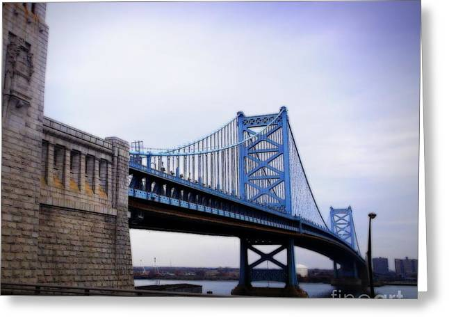 Downtown Franklin Digital Greeting Cards - Ben Franklin Bridge Greeting Card by Andooga Design