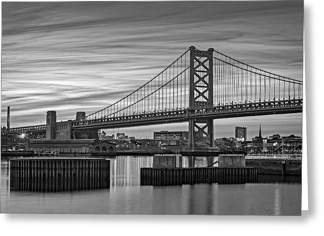 Ben Franklin Bridge Greeting Cards - Ben Franklin Bridge BW Greeting Card by Susan Candelario