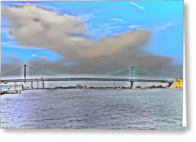 Philadelphia Digital Art Greeting Cards - Ben Franklin Bridge from Penns Landing Greeting Card by Bill Cannon