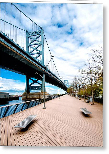 Independance Hall Greeting Cards - Ben Franklin Bridge Greeting Card by Greg Fortier