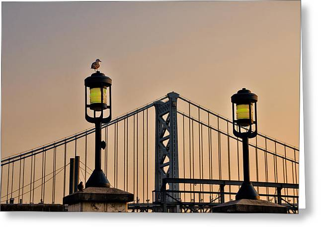 Ben Franklin Bridge Greeting Cards - Ben Franklin Bridge in Early Morning Greeting Card by Bill Cannon