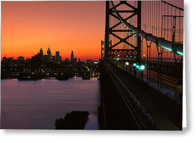 Philadelphia Photographs Greeting Cards - Ben Franklin Bridge Greeting Card by Panoramic Images