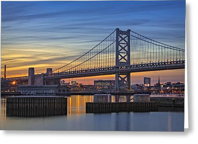 Ben Franklin Bridge Greeting Card by Susan Candelario