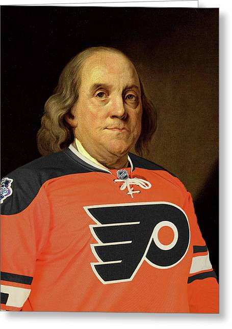 Ben Franklin In A Flyers Jersey Greeting Card by Bill Cannon