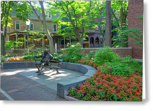 Ben Franklin On A Bench - University Of Penn Greeting Card by Bill Cannon