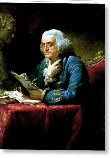 Landmarks Tapestries Textiles Greeting Cards - Ben Franklin Greeting Card by War Is Hell Store