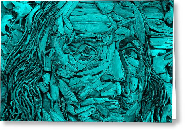 Patriot Sculptures Greeting Cards - Ben In Wood Turquoise Greeting Card by Rob Hans
