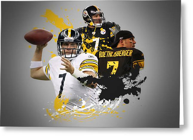 Ben Roethisberger Steelers Greeting Card by Joe Hamilton