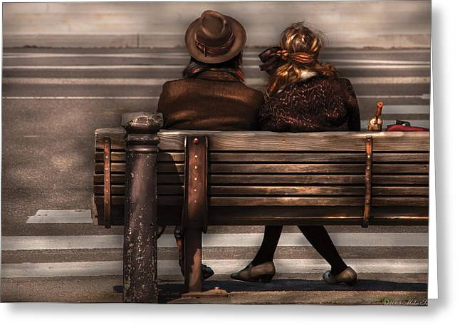 Bench - A Couple Out Of Time Greeting Card by Mike Savad
