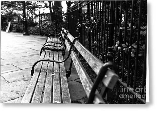 Park Benches Greeting Cards - Bench Angles mono Greeting Card by John Rizzuto